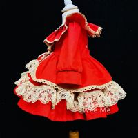 Beautiful Wee Me Baby Girl Red Spanish Puff Ball Dress Many Layers Tan Details